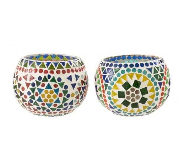 2ks barevné skleněné svícny Mosaic - Ø10*7cm