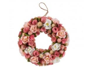 Růžový jarní věnec s květinami - Ø 32*7 cm