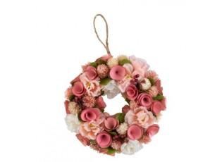Růžový jarní věnec s květinami - Ø 23*6 cm