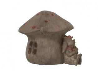 Svítící domek houba s králíkem - 16*14cm