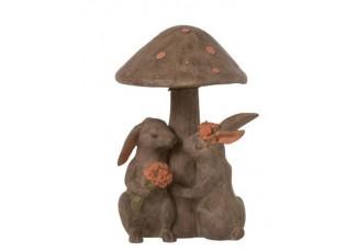 Zamilovaní králíci pod houbou - 16*22.5cm