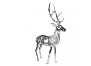 Kovová stříbrná dekorace Jelen - 20*41*66 cm