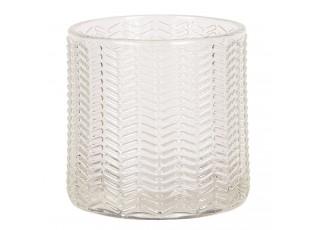 Transparentní skleněný svícen na čajovou svíčku.