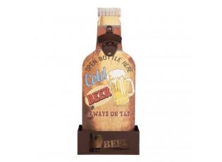 Nástěnný otvírák na láhve se zásobníkem na zátky Beer - 14*10*37 cm