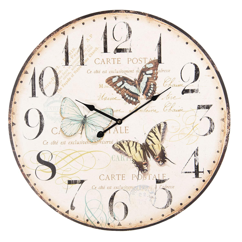 Vintage nástěnné hodiny Motýli – Ø 58*6 cm / 1*AA