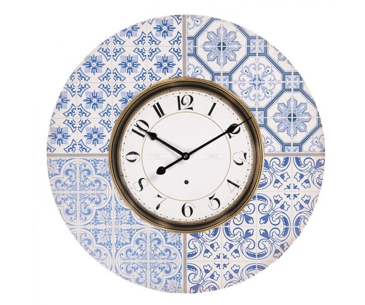 Nástěnné hodiny s potiskem v designu dlaždic s modrými ornamenty – Ø 58*4 cm / 1*AA