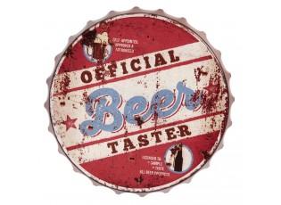 Červená kovová kulatá cedule Beer - Ø 33*5 cm