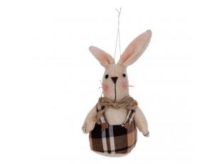 Závěsná textilní dekorace králíček s kšandami - 8*5*12 cm