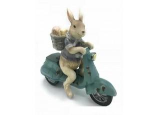 Dekorace králík na skútru - 19*7*18 cm