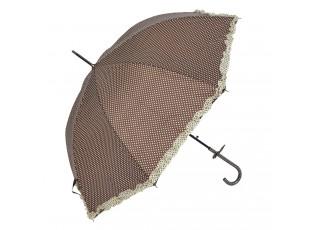 Hnědý deštník s puntíky a béžovým lemem