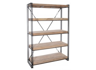Černý kovový regál / knihovna s dřevěnými policemi - 127*46*183cm