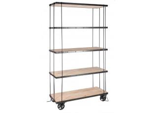 Černý kovový regál na kolečkách s dřevěnými policemi - 102*40*190cm