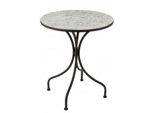Kovový černý kulatý stůl s mozaikou Shard White - ∅ 61*71 cm
