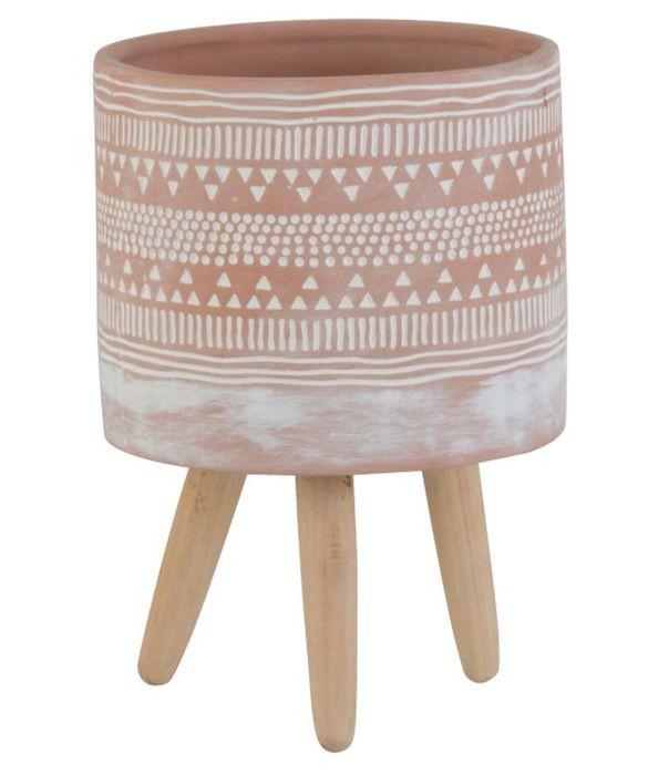 Terakotový květináč na dřevěných nohách Ethnic - Ø13*20cm
