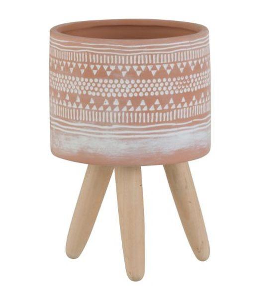 Terakotový květináč na dřevěných nohách Ethnic - Ø10*16cm