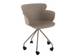 Plastová šedá židle na kolečkách Eva - 56*53*81 cm