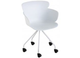 Plastová bílá židle na kolečkách Eva - 56*53*81 cm