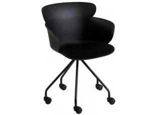 Plastová černá židle na kolečkách Eva - 56*53*81 cm