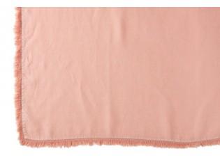 Broskvový lněný pléd s třásněmi Franje - 150*200 cm