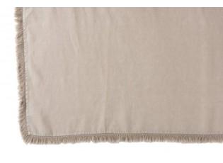 Béžový lněný pléd s třásněmi Franje - 150*200 cm