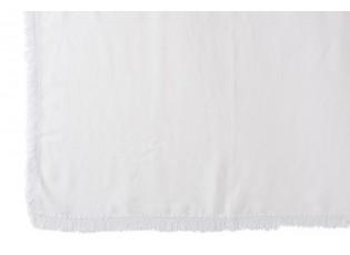 Bílý lněný pléd s třásněmi Franje - 150*200 cm