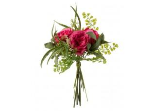 Tmavě růžová kytička Růže Gypsophila - 33cm