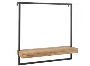 Černá nástěnná polička s dřevěnou poličkou Shelfi - 50*15*50cm