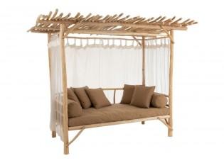 Venkovní pohovka na dřevěné konstrukci se záclonkami Loveseat - 200*100*212 cm