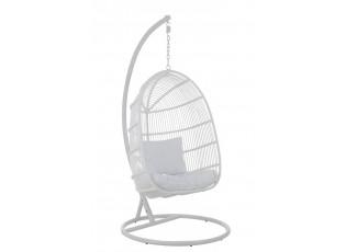 Závěsné bílé ratanové křeslo Oval -119*105*193 cm