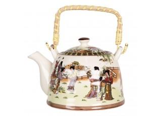 Porcelánová konvice na čaj s japonskými motivy - 18*14*12 cm / 0,8L