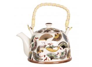 Porcelánová konvice na čaj s motivem vějířů - 18*14*12 cm / 0,8L