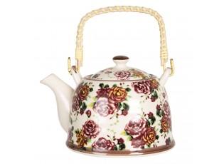 Konvička na čaj s květy růží - 18*14*12 cm / 0,8L