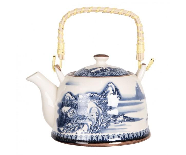 Porcelánová konvice na čaj s motivem hor - 18*14*12 cm / 0,8L