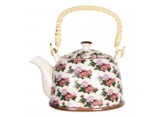 Porcelánová konvice na čaj s motivem růží - 18*14*12 cm / 0,8L