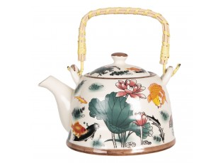 Konvice na čaj s květy a rybkami - 18*14*12 cm / 0,8L
