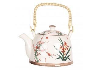 Konvička na čaj s japonskými květy - 18*14*12 cm / 0,8L