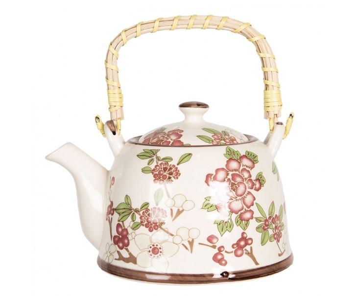Porcelánová konvice na čaj se sakurou - 18*14*12 cm / 0,8L