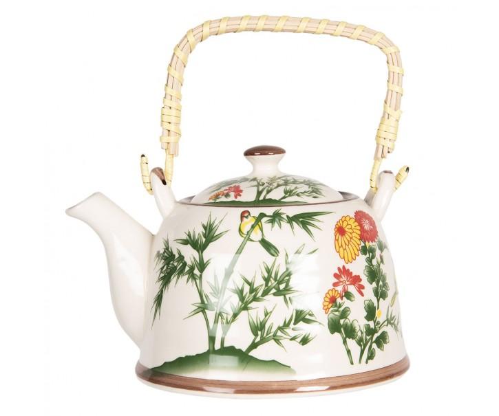 Porcelánová konvice na čaj s bambusem a květy - 18*14*12 cm / 0,8L