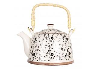 Konvička na čaj s černými kvítky - 18*14*12 cm / 0,8L