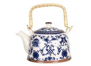Konvička na čaj s modrými ornamenty - 18*14*12 cm / 0,8L