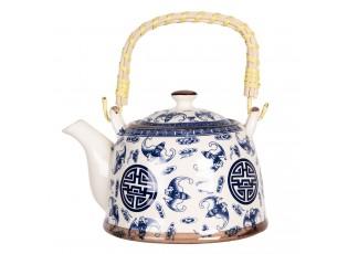 Konvice na čaj se sítkem a modrými ornamenty - 18*14*12 cm / 0,8L