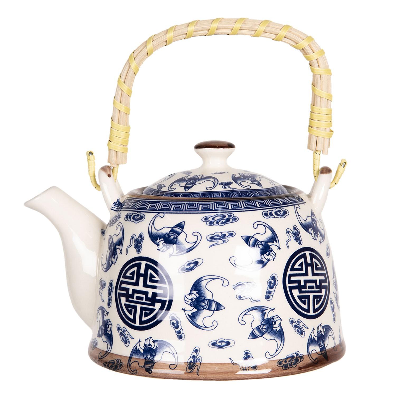 Clayre & Eef Konvice na čaj se sítkem a modrými ornamenty - 18*14*12 cm / 0,8L