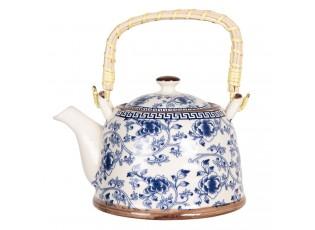 Konvička na čaj s modrými květy - 18*14*12 cm / 0,8L