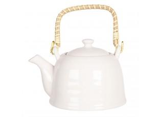 Bílá porcelánová konvice na čaj - 18*14*12 cm / 0,8L