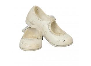 Dekorace béžové dívčí botičky - 12*10*8 cm