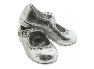 Dekorace stříbrné dětské botičky - 12*10*8 cm