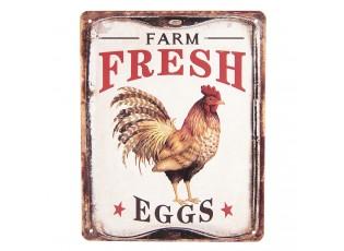 Nástěnná kovová cedule Farm Fresh EGGS - 30*1*40 cm