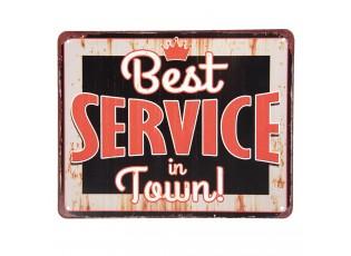 Velká barevná kovová cedule s patinou a odřením Best service in Town.