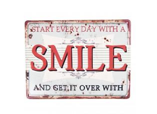 Kovová nástěnná cedule SMILE - 25*20 cm