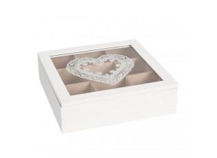 Krabička na čaj s dekorem srdce -24*24*7 cm